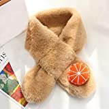 Amphia - Kind Nachgemachtes Kaninchenfell Schal Orange,Orange Plüsch-Kinder-Winter-Warmer Schal-Mode verdicken Gras-Schals(Khaki)