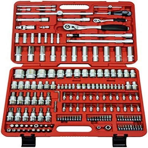 FAMEX 525-SD-16 Mechaniker Steckschlüsselsatz - 108-Zahn Feinzahn Knarren - Schwenkverlängerungen - Verriegelungsmechanik - Einsätze mit Wellenprofil - Bit-Einsätze - 4-32mm - 174-teilig