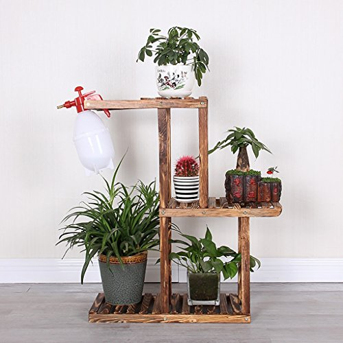 Das Wohnzimmer Balkon Regalboden mehrstöckigen Holz Konservierungsmittel Blumen Regal feste hölzerne Blume grün Blumentopf Rack. ( größe : 1-55cm ) (Klar, Holz-konservierungsmittel)