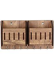 Sehaz Artworks 2-Pocket-Brown-KeyHolder Wooden Key Holder (7 Hooks)