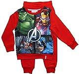 Avengers Jogginganzug Jungen Marvel Pullover und Hose (Rot, 128-134)