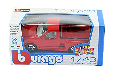 New Burago 1/43 Diecast Model Car - Ford F150 SVT Pickup Truck in Red - Burago 'Street Fire' Range
