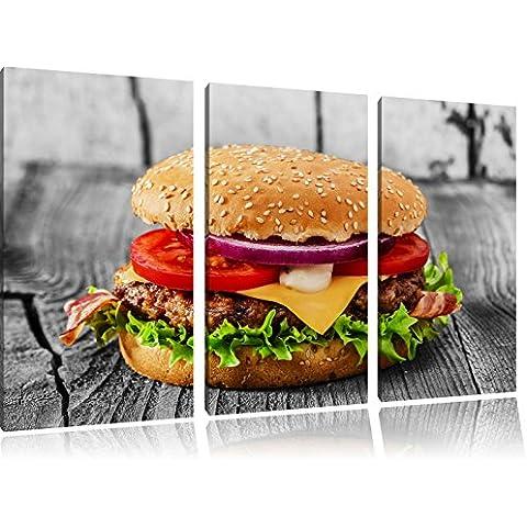 Yummy Cheesburger Nero / Bianco 3 pezzi picture tela 120x80 immagine sulla tela, XXL enormi immagini completamente Pagina con la barella, stampe d'arte sul murale cornice gänstiger come la pittura o un dipinto ad olio, non un manifesto o un banner,