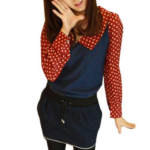 Femme Imprimé Pois Red Chemisier Manches Longues Haut bleu foncé XS Bleu Foncé Rouge