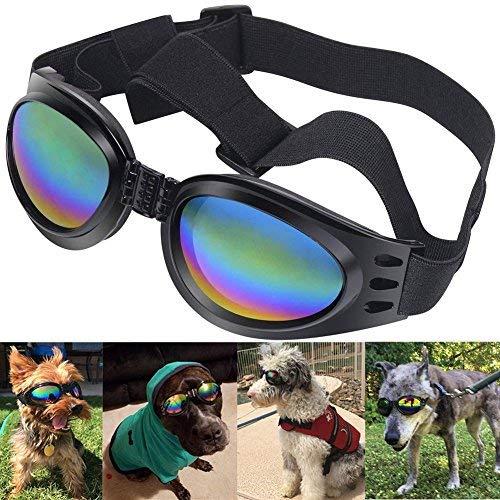 Alfie Hunde-Sonnenbrille, mit Gläsern, mit UV-Brille Sonnenbrille, winddicht Schutz Doggie Welpen Hunde-Sonnenbrille, Brille für große Hunde, Schwarz