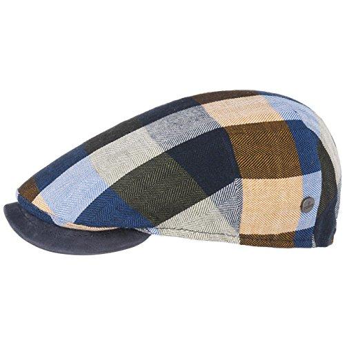Lierys Capri Bic Plaid Flatcap Baumwollcap Schirmmütze Schiebermütze Sommercap Leinencap Herren | Made in Italy mit Schirm, Futter, Futter Frühling-Sommer | 58 cm blau-grün
