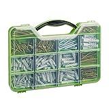 Relaxdays Caja, Set Tornillos Madera, Hexagonales y Tacos, 14 Compartimentos, Plástico, Verde, 19,5...