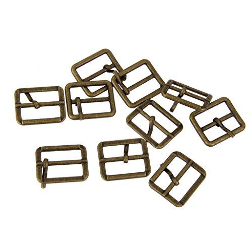 Metal Roller Pin Buckles Rectangle Triple Slip Buckle Sliding Belt 25 Mm Bronze