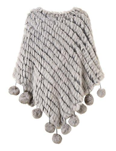 Ferand Kaninchenfell Gestrickter Poncho Damen mit Fransen, eleganter Echt Pelz Cape Warm für Winter Hellgrau(mit Pompons)