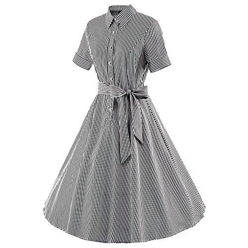 ... LUOUSE 'Wendy' Vintage 1950 Candy Stripe Bubikragen Hemd Kleid V416- Schwarz ...