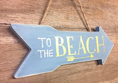 To the beach ~ geschoben Blaue Pfeil Schild