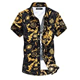 YuanDian Uomo Retro Stampa Floreale Camicie da Spiaggia Taglia Grossa Slim Hawaiane Tropical Aloha Funky Manica Corta Button Down Elasticizzate Traspiranti Camicette Shirt 1# M