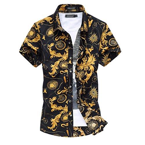 Yuandian uomo retro stampa floreale camicie da spiaggia taglia grossa slim hawaiane tropical aloha funky manica corta button down elasticizzate traspiranti camicette shirt 1# xl