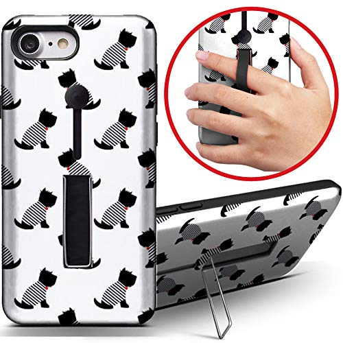 [Kompatibel mit Apple iPhone 8] Dual Armor Stoßfeste Fingerschlaufe Ring Holder Hard Case Cover with Kickstand (Scottish Terrier Sailor T-Shirt) -