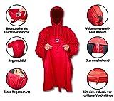HOCK Premium Damen Herren Wanderponcho Wetter As Klima | Wasserdicht | Ideal für Wandern - Outdoor (Rot, 165 cm)