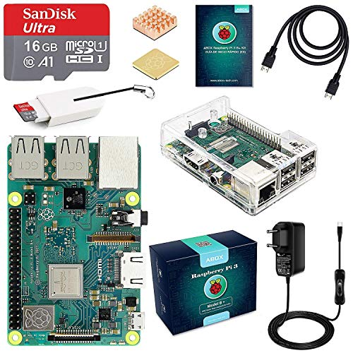 ABOX Raspberry Pi 3 Model B + Starter Kit with Micro SD 16GB Class 10, 5V 3A Power Adapter with Switch, 2 radiators, Cable HDMI, Card Reader, Transparent box