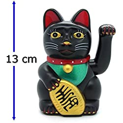 Gato de la suerte Starlet24, gato que saluda, gato Feng Shui, Maneki Neko, plástico, Negro , 13 cm