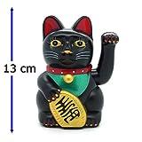 Starlet24 Glückskatze Winkekatze Glücksbringer Feng Shui Katze Maneki Neko (Schwarz, 13cm)