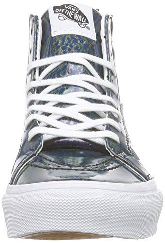 Vans Sk8-hi Slim Zip - Scarpe da Ginnastica Alte Unisex – Adulto Blu (patent Leopard/copper)