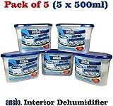 ANSIO 94610 Interior Dehumidifier, 500 ml, Pack of 5