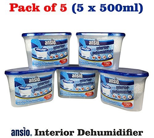 ANSIO Interior Dehumidifier, Condensation Remover, Moisture Absorber, Dehumidifiers for Damp, Mould, Moisture in Home, Kitchen, Wardrobe, Bedroom, Caravan, Office, Garage, Bathroom, Basement 500 ml, Pack of 5