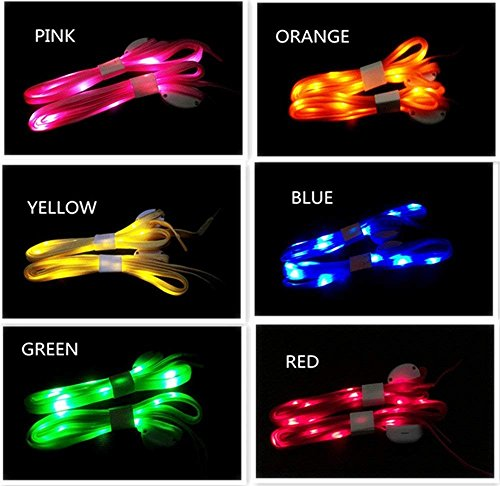 Atcket LED Cordones 6par-de Alta Visibilidad Suave Nailon Light Up, con 3Modos de balón en 6Colores para Noche Seguridad Running Ciclismo, o Cool Disco Party, Cosplay, Hip-Hop Danza