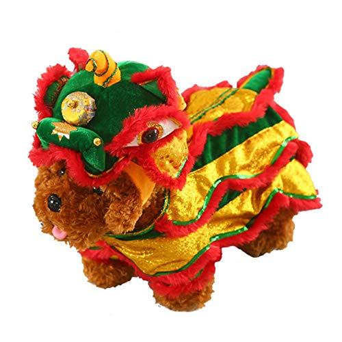 Keine Kostüm Kultur - BYFWA Haustierkostüm,Löwentanzkostüm, Festliches Kostüm, Chinesisches Kleid, Haustierkosmetik-Spaßkostüm Rotes glückliches Cosplay-Kostüm,S
