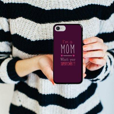 Apple iPhone X Silikon Hülle Case Schutzhülle Mutter Superpower mama Hard Case schwarz