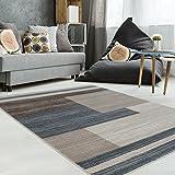 carpetcity Teppich Flachflor mit Modernen Design, Geometrisches Muster in Braun, Beige, Creme für Wohnzimmer, Größe: 80 x 150 cm