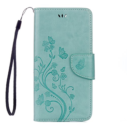 Cover Protettiva iphone 8 plus / 7 plus Plus, Alfort 2 in 1 Custodia in Pelle Verniciata Goffrata Farfalle e Fiori Alta qualità Cuoio Flip Stand Case per la Custodia iphone 8 plus / 7 plus Plus Ci son Verde
