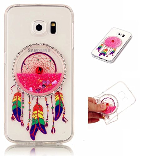 MUTOUREN Carcasa para Samsung Galaxy S6 Edge líquido - TPU cobertura de funda protectora agua con Diseño rosa transparente