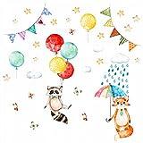 nikima - 075 Wandtattoo Waschbär und Fuchs Kinderzimmer Luftballon Regenschirm Wolken - in 6 Größen - niedliche Kinderzimmer Sticker und Aufkleber süße Wanddeko Wandbild Junge Mädchen Größe 1000 x 560 mm