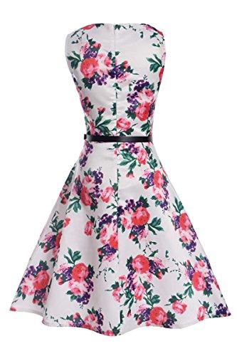 Yming signore elegante abito di A-line vestito da estate vestito epoca abiti da festa della spiaggia Cocktaildresses Bianco, rosa, fiori
