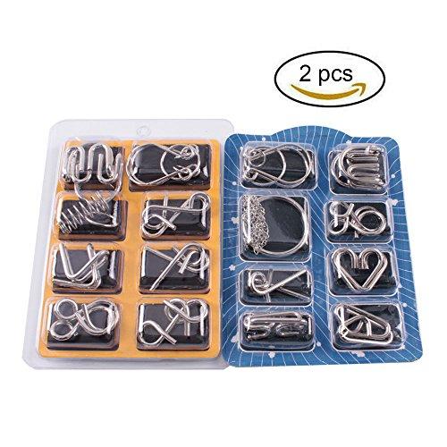 Preisvergleich Produktbild Teenitor 16 Stück Metall Knobelei - Knobelspiele Metall 3D Brainteaser Puzzle Metallpuzzle für Kinder Teenager & Erwachsene Puzzles Metall Gehirn IQ Spiele Puzzle