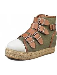 Hebilla Gruesa Y Hebilla de Cinturón Dentro Del Aumento de Zapatos Individuales Zapatos de Mujer con Cremallera...