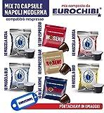 MIX 70 KAPSELN MODERNES NEAPEL BORBONE & MORENO - 10 NERA - 10 ROSSA - 10 BLU - 10 ORO - 10 ESPRESSO BAR - 10 BLUE AROME - 10 TOP ESPRESSO - für NESPRESSO mit 1 EXKLUSIVEN EUROCHIBI®-SCHLÜSSELANHÄNGER