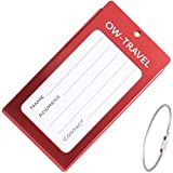 ? Metal Luggage Tags for Suitcases - Business Card Holder - Personalised Travel Label Name Identifiers ideal Suitcase Tag, Bag Tags, Backpack and Baggage Tags (Luggage Tag Labels, Red)