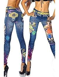 Jeans leggings Leggins Hose bunt Tattoo Prints Jeggings Farbe schlank Leggings