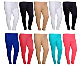 IndiWeaves Womens Premium Cotton Solid Churidar Leggings -MultiColor-Pack Of 10-FREE SIZE