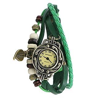 Damen Retro Baum Blatt Leder Armkette Armband Armbanduhr Uhren Uhr Watches Grün