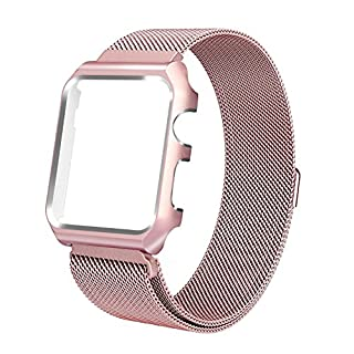 Apple Watch Strap , ANGGO Stainless Steel Milanese Loop Replacement iWatch Band with Watch Protective Case and Magnetic Closure Clasp for Apple Watch Series 3 Series 2 Series 1 All Version (42mm / Rose Gold)
