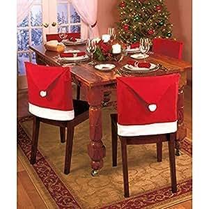 Hidas Copri Sedie Cappello di Babbo Natale Pacco da 6 Cover Decorazione Natalizia Festa