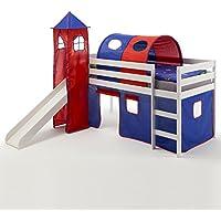 Preisvergleich für IDIMEX Rutschbett Hochbett mit Rutsche BENNY, Spielbett Kiefer massiv weiß lackiert 90x200 cm, mit Rutsche Vorhang Turm und Tunnel in blau/rot
