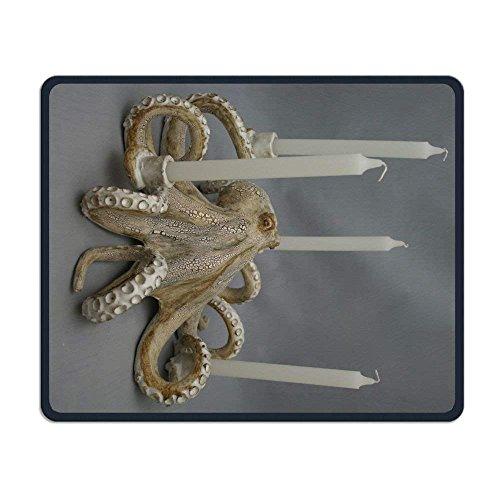Alfombrilla de ratón rectangular para juegos, diseño vintage de pulpo Candelabro antideslizante, de goma, con bordes cosidos