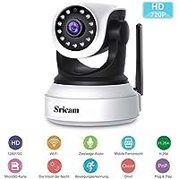 Überwachungskamera,Sricam 720P HD IP Kamera Wlan Innen P2P IR Nachtsicht Bewegungsmelder Mini CCTV Wifi Kamera mit Mikrofon und Lautsprecher für Zuhause/Baby/Haustiere
