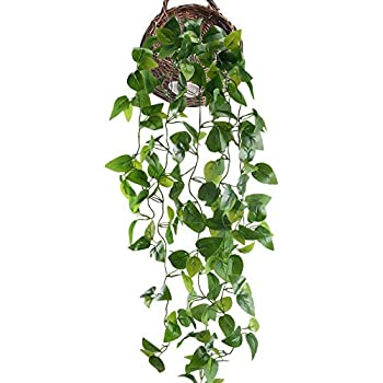 SPTwj 2 Pack Artificial Ivy Vine Artificial Plants Fake Ivy Hanging Home Office Outdoor Indoor Decor Total length of about 77 cm yellow
