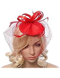Ukerdo Mujer Pluma Red Venda Fascinator Sombreros Clip de Pelo Velo Boda Fiesta del Té