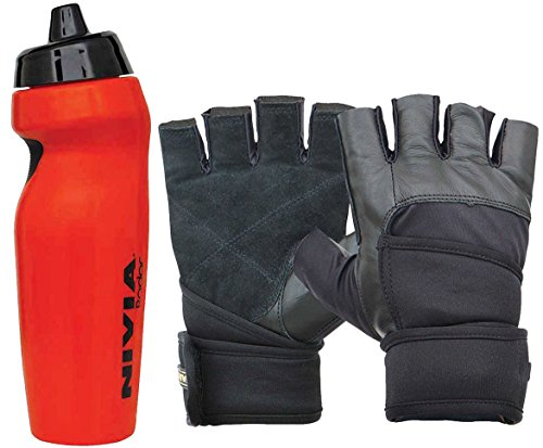 Nivia Extreme Radar Prowrap Gym & Fitness Combo, Large - Red (1 Pair Nivia Prowrap Gym Gloves Black/Grey, Large + 1 Nivia Radar 600ml Sports Bottle, Red)  available at amazon for Rs.799