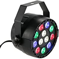 Lixada 15W DMX512 RGBW Projecteur Led Éclairage de scène Lampe de Scène AC 100-240V PAR Light Strobe Professionnel 8 canaux Commande Vocale automatique Noël Party Disco Show