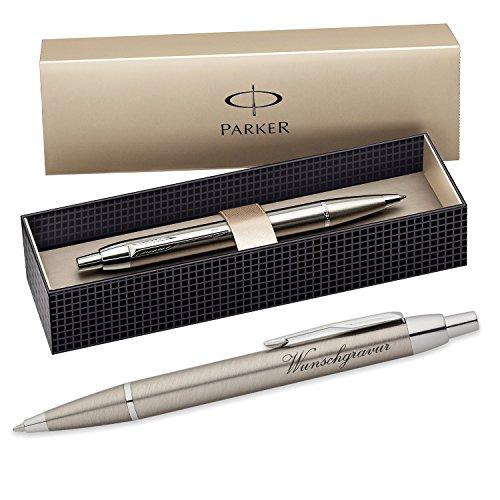 Parker IM Kugelschreiber mit Gravur - Farbe Metall gold - Großraummine blauschreibend mit Geschenk-Etui